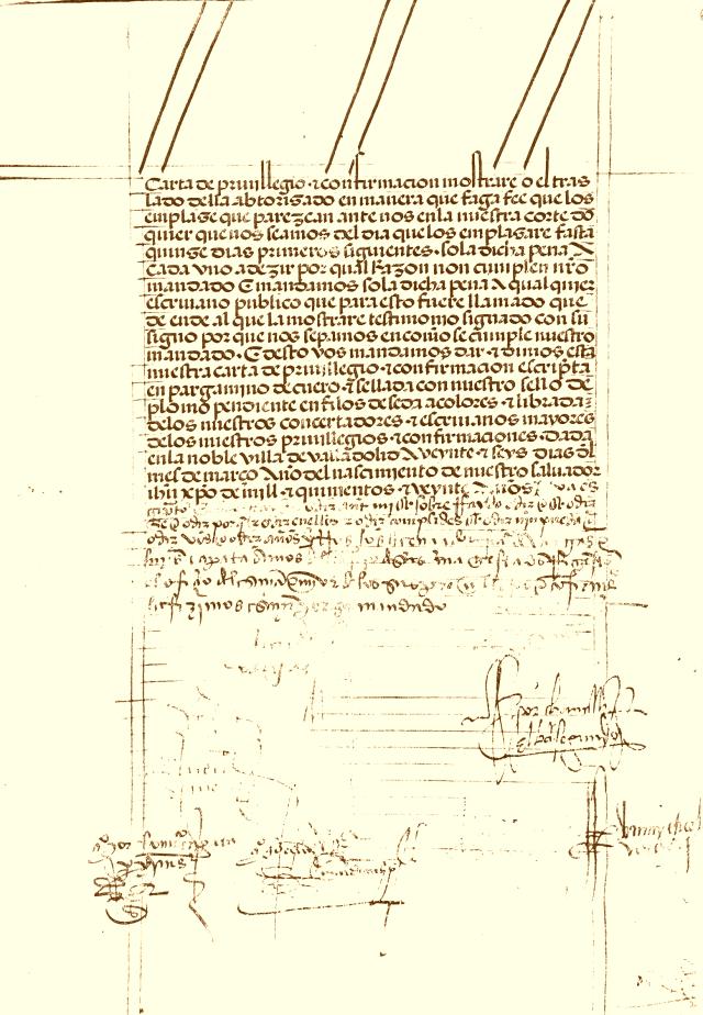 Privilegio y Confirmación de Carlos V a Santibáñez de Valcorba (1520)